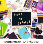 desk with stationary and with... | Shutterstock . vector #647752942