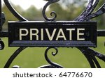 Private Sign On Old Vintage...