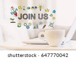 join us concept with a cup of... | Shutterstock . vector #647770042