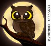 cartoon owl on moon background.   Shutterstock .eps vector #647773786