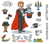 vector set with magician and...   Shutterstock .eps vector #647784766