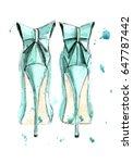 turquoise high heels. hand... | Shutterstock . vector #647787442