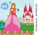 beautiful young princess and... | Shutterstock .eps vector #647806156