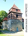 Small photo of Tower of the church St. Vitus to Wilkenburg, district Hanover, Germany, that was built in the year 1140 as an originally romanesque church, later rebuilt according to temporal architectural styles