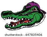 Mascot Alligator Head, proud and tough, which gives tribute to traditional school mascots but with a new look and attitude. Suitable for all sports. - stock vector