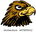 Mascot Hawk Head, proud and tough, which gives tribute to traditional school mascots but with a new look and attitude. Suitable for all sports. - stock vector