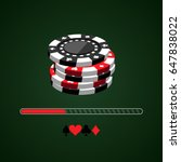 set of casino chips and a...