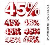 3d 45   vector 45 percent... | Shutterstock .eps vector #647843716