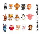 a mega icon set of zebra ... | Shutterstock . vector #647844892