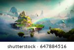 chinese style fantasy scenes 3d ... | Shutterstock . vector #647884516