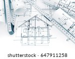 rolls of technical drawings... | Shutterstock . vector #647911258