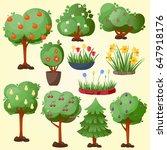 funny cartoon green garden park ... | Shutterstock .eps vector #647918176