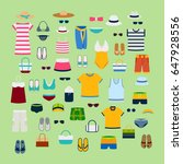 set of summer clothes and... | Shutterstock .eps vector #647928556