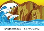 day sea with waves and mountains | Shutterstock .eps vector #647939242