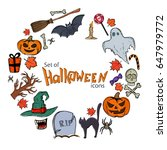 round frame with halloween... | Shutterstock . vector #647979772