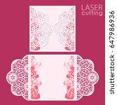 laser cut wedding invitation... | Shutterstock .eps vector #647986936