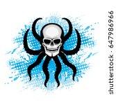 skull with octopus tentacles.   Shutterstock .eps vector #647986966