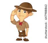boy scout cartoon saluting... | Shutterstock .eps vector #647988862