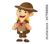 boy scout cartoon carrying... | Shutterstock .eps vector #647988886