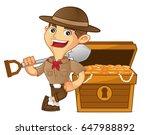 boy scout cartoon leaning on... | Shutterstock .eps vector #647988892