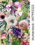 seamless pattern with exotic... | Shutterstock . vector #647992222