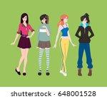 flat design 4 fashion girls  on ... | Shutterstock .eps vector #648001528