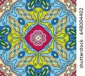 decorative hand drawn seamless... | Shutterstock .eps vector #648004402