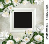 Stock photo frame and borders of white roses on a beautiful vintage background 648023206