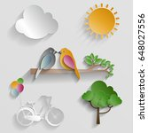 set of nature. bird  cloud  sun ...   Shutterstock .eps vector #648027556