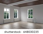 empty bright room with wood... | Shutterstock . vector #648030235