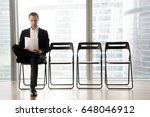 confident job applicant reads... | Shutterstock . vector #648046912