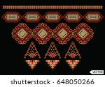 embroidery ethnic flowers neck... | Shutterstock .eps vector #648050266