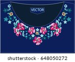 embroidery ethnic flowers neck... | Shutterstock .eps vector #648050272