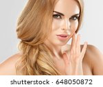 perfect blonde woman face ... | Shutterstock . vector #648050872
