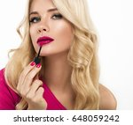 woman with lips mouth red pink... | Shutterstock . vector #648059242