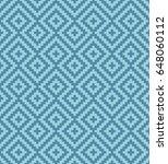 blue meander pixel art pattern. ... | Shutterstock .eps vector #648060112