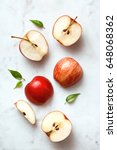 apples flat lay on a marble... | Shutterstock . vector #648068362