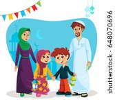 happy muslim family of parents... | Shutterstock .eps vector #648070696