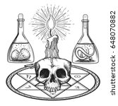 skull with candle hand drawn... | Shutterstock .eps vector #648070882