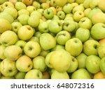 yellow apples harvest. many... | Shutterstock . vector #648072316