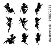 set of silhouettes of fairies... | Shutterstock .eps vector #648072736