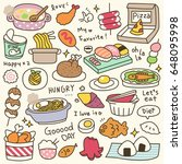 set of cute meal and dish doodle   Shutterstock .eps vector #648095998