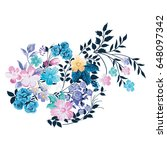 colorful vector flowers on the... | Shutterstock .eps vector #648097342