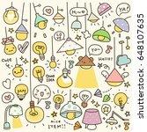 set of cute vintage bulb doodle   Shutterstock .eps vector #648107635