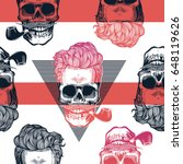 kitschy seamless pattern. human ... | Shutterstock .eps vector #648119626
