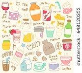 set of cute beverages doodle | Shutterstock .eps vector #648120352