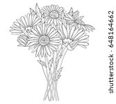 vector bouquet with outline... | Shutterstock .eps vector #648164662