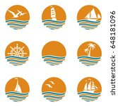 collection of ocean logos with...