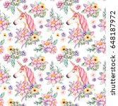lovely seamless pattern with... | Shutterstock . vector #648187972