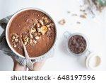 chocolate banana protein... | Shutterstock . vector #648197596